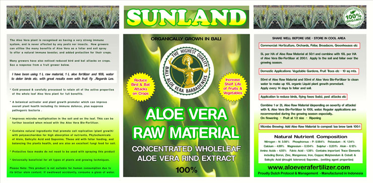 Aloe Raw Material Label